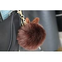 Pompom rabbit keychain